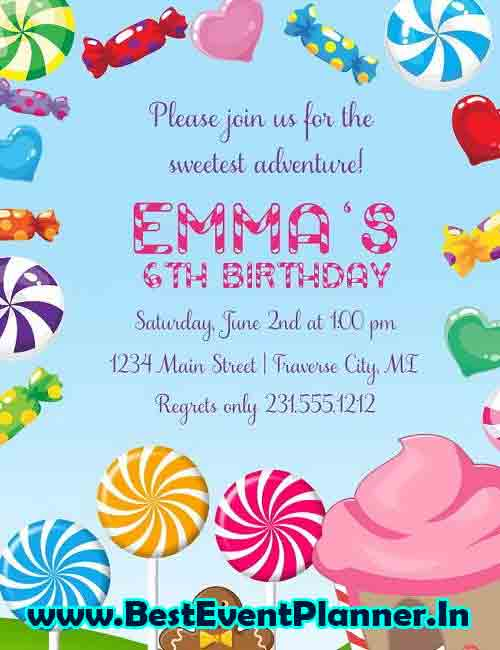 candy invitation card