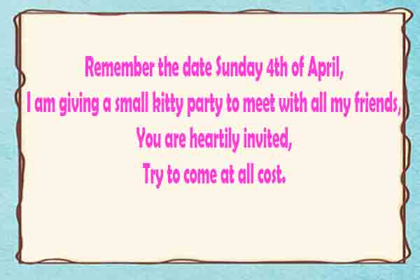 kitty party invitation message