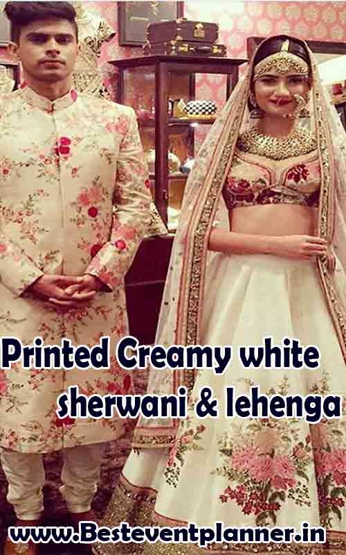 Printed Creamy white sherwani & lehenga dress color idea