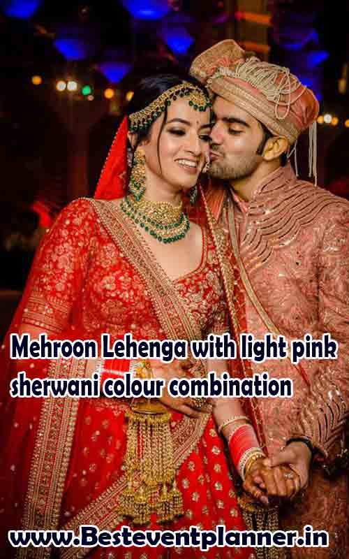 Mehroon Lehenga dress color combination idea