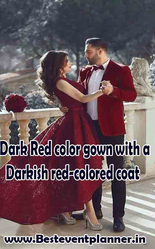 Dark Red color combination dress idea