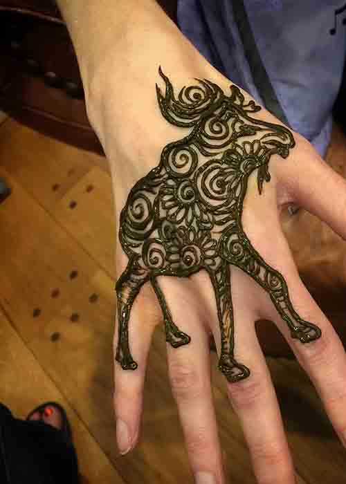Funky Men Mehndi animal designs for party