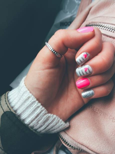 beautiful heart patterned nails