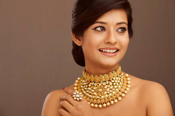 heavy gold & pearl polki necklace