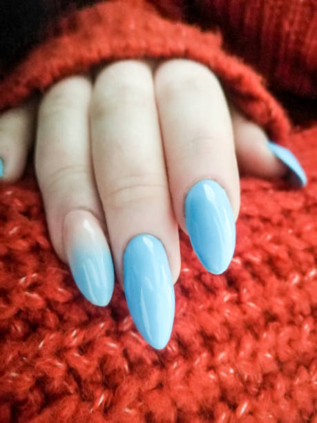 shining blue colored nails