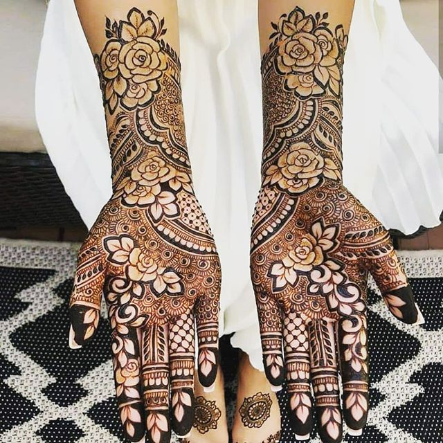simple full hand mehndi design for bride