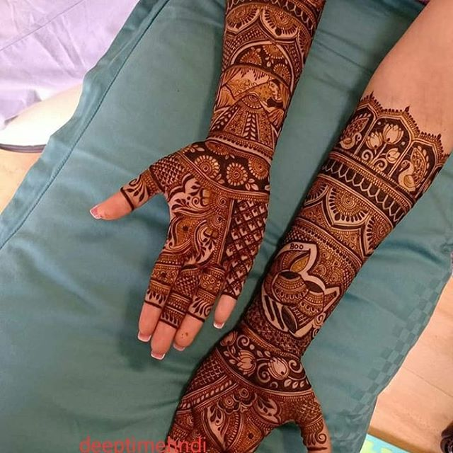 bride full hand mehndi designs