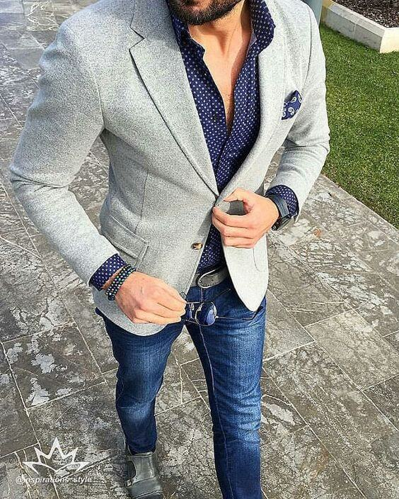 Dotted Casual Shirt with a blazer - men fresher party outfit