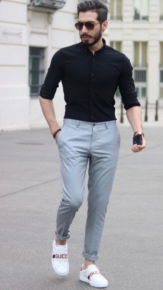 Black Shirt with Formal Grey Pant - outfit idea for fresher party